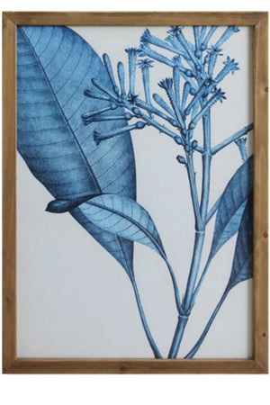 Bloomingille Blue Botanical Wood Framed Wall Decor No. 4