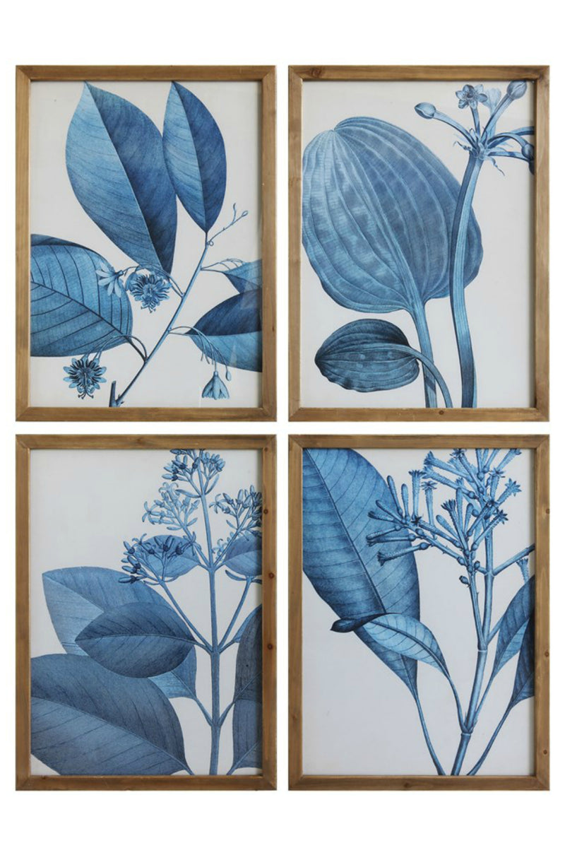 Bloomingille Blue Botanical Wood Framed Wall Decor