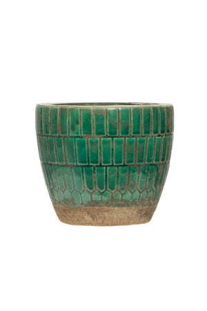 Creative Co-op Green Tiled Terracotta Planter