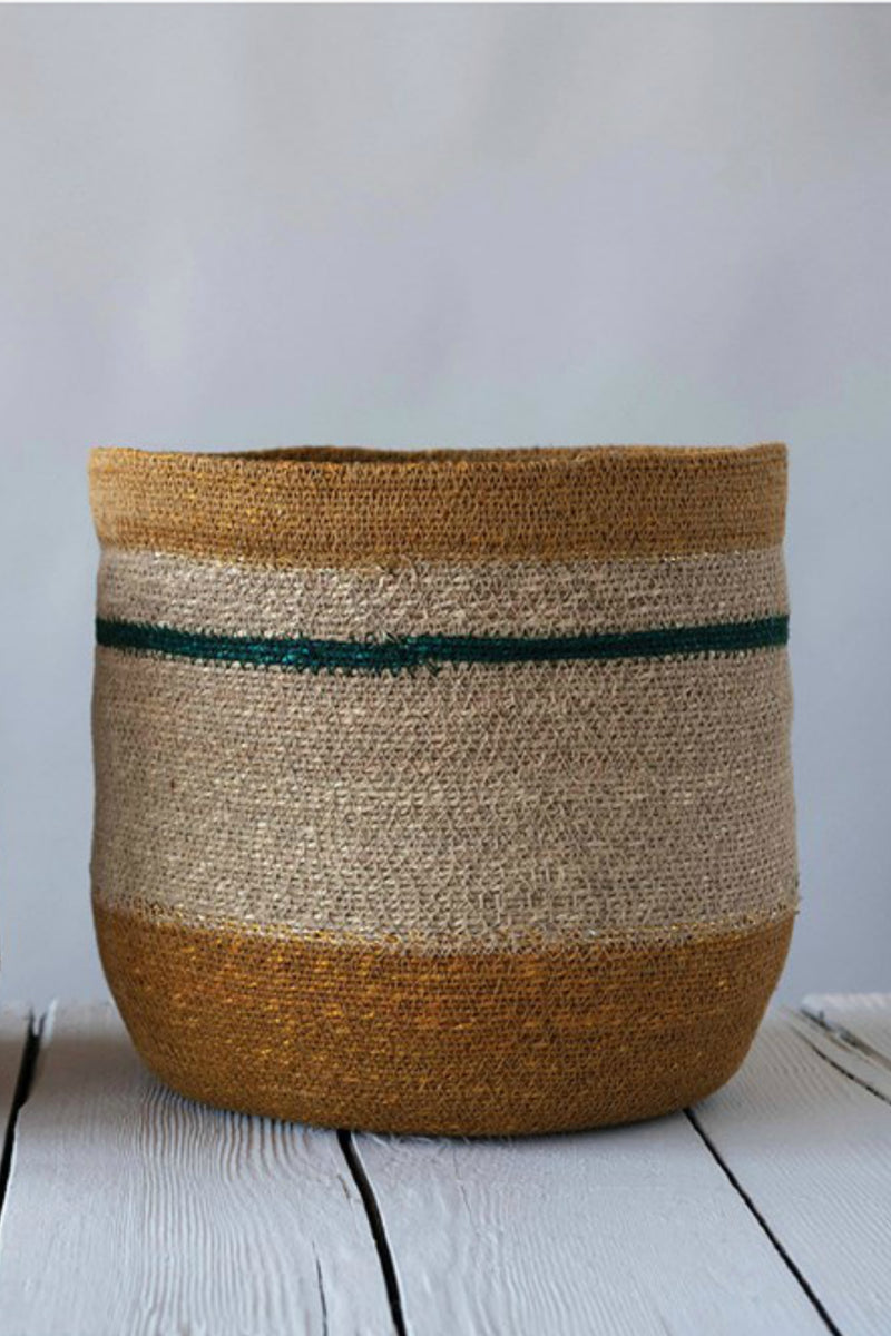 Creative Co-op Gold + Green Seagrass Baskets