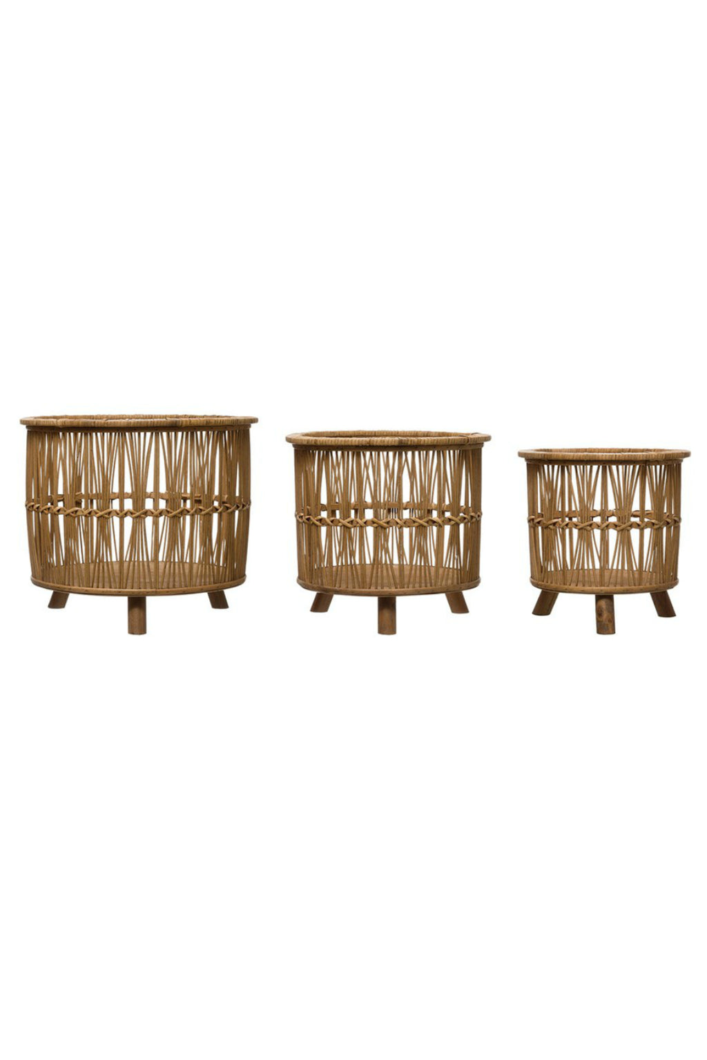 Creative Co-op Woven Bamboo Footed Baskets