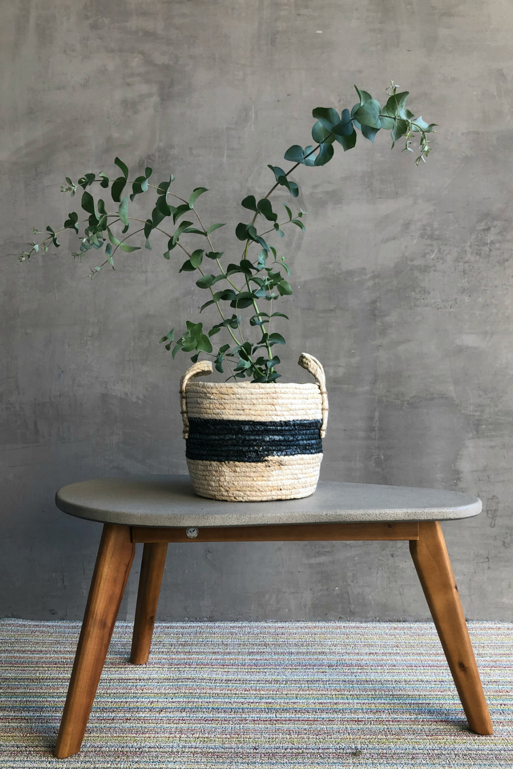 UMA Cement + Wood Mid-Century Accent Table