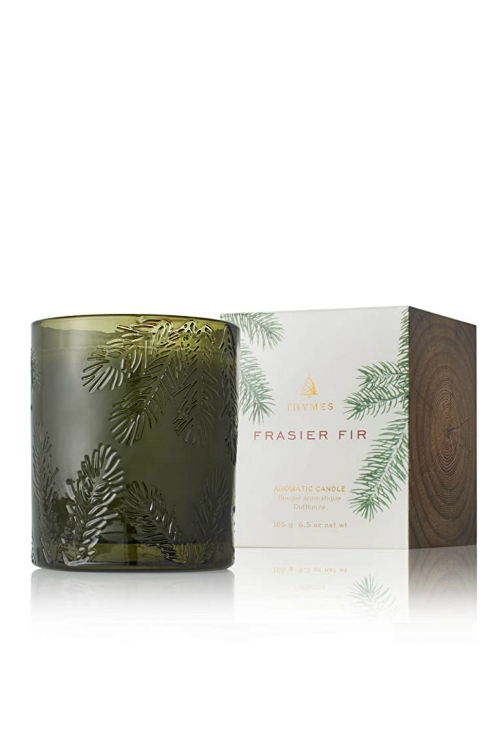 Thymes Frasier Fir Poured Candle, Molded Green Glass