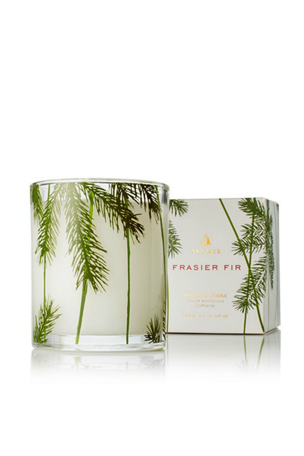 Thymes Frasier Fir Poured Glass Candle, Pine Needle Design