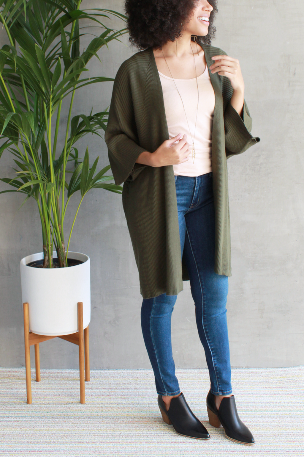 EcoVibe Freya Long Cardigan in Pine Green