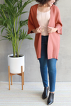 EcoVibe Freya Long Cardigan in Clay