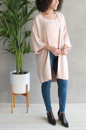 EcoVibe Freya Long Cardigan in Beige
