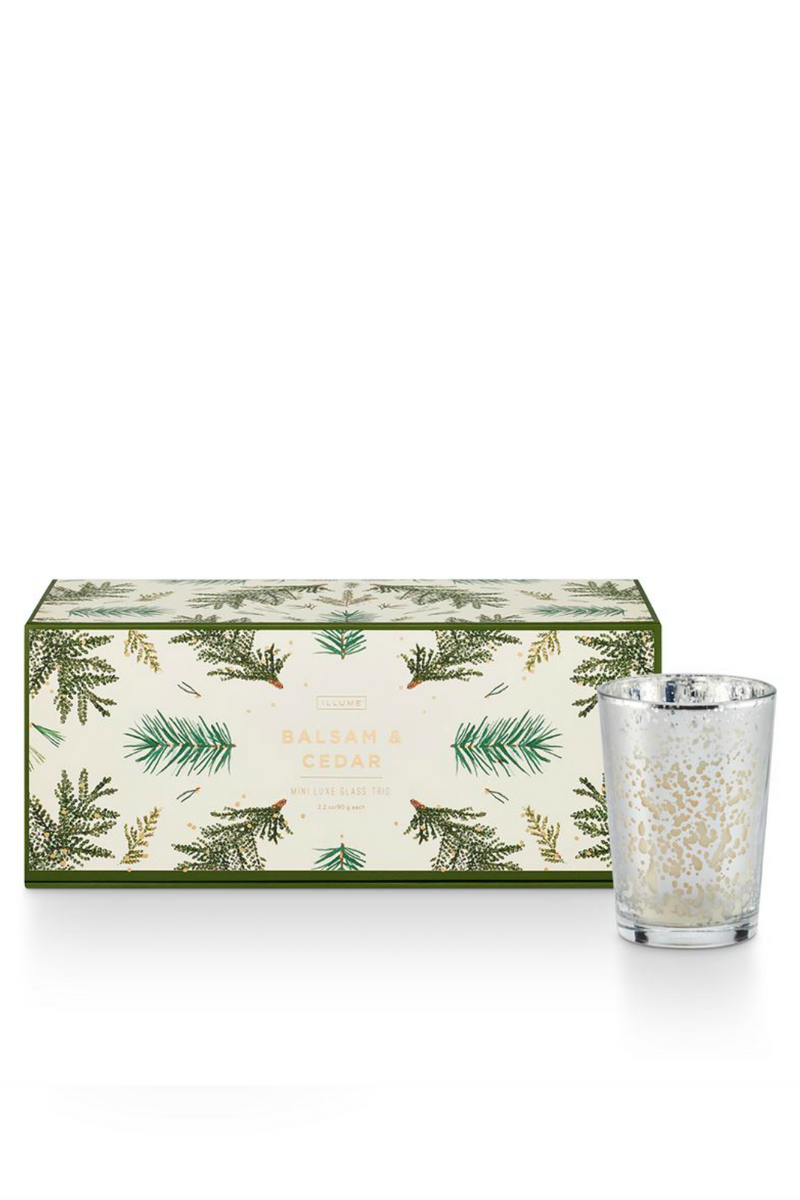 Illume Mini Luxe Mercury Glass Candle Gift Trio Balsam & Cedar