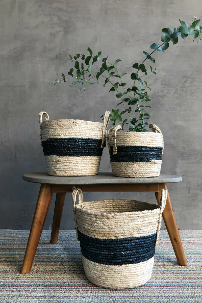 Foreside Indigo Stripe Natural Baskets