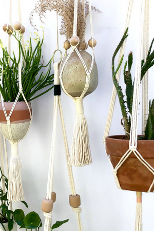 Little Feral Wooden Beaded Plant Hanger in Oatmeal