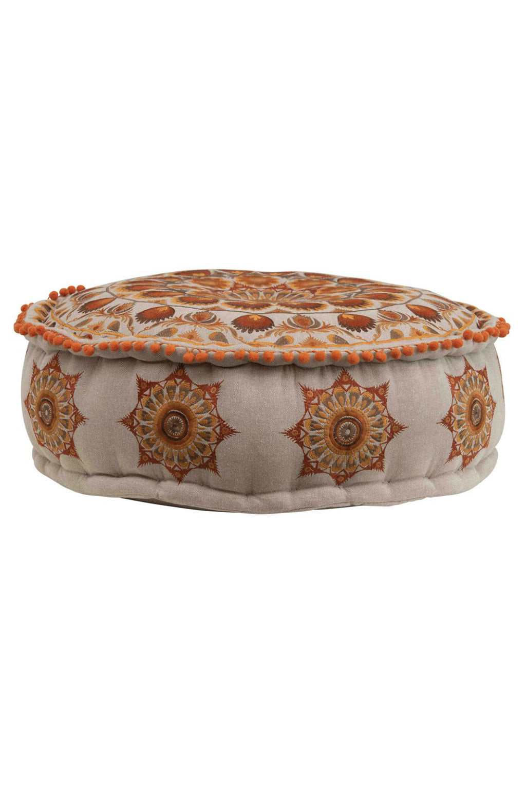 Creative Co-Op Bohemian Sunset Embroidered Pouf