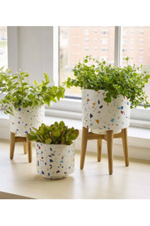 Texture by Design Ideas Blue Terrazzo Planter with Wood Legs