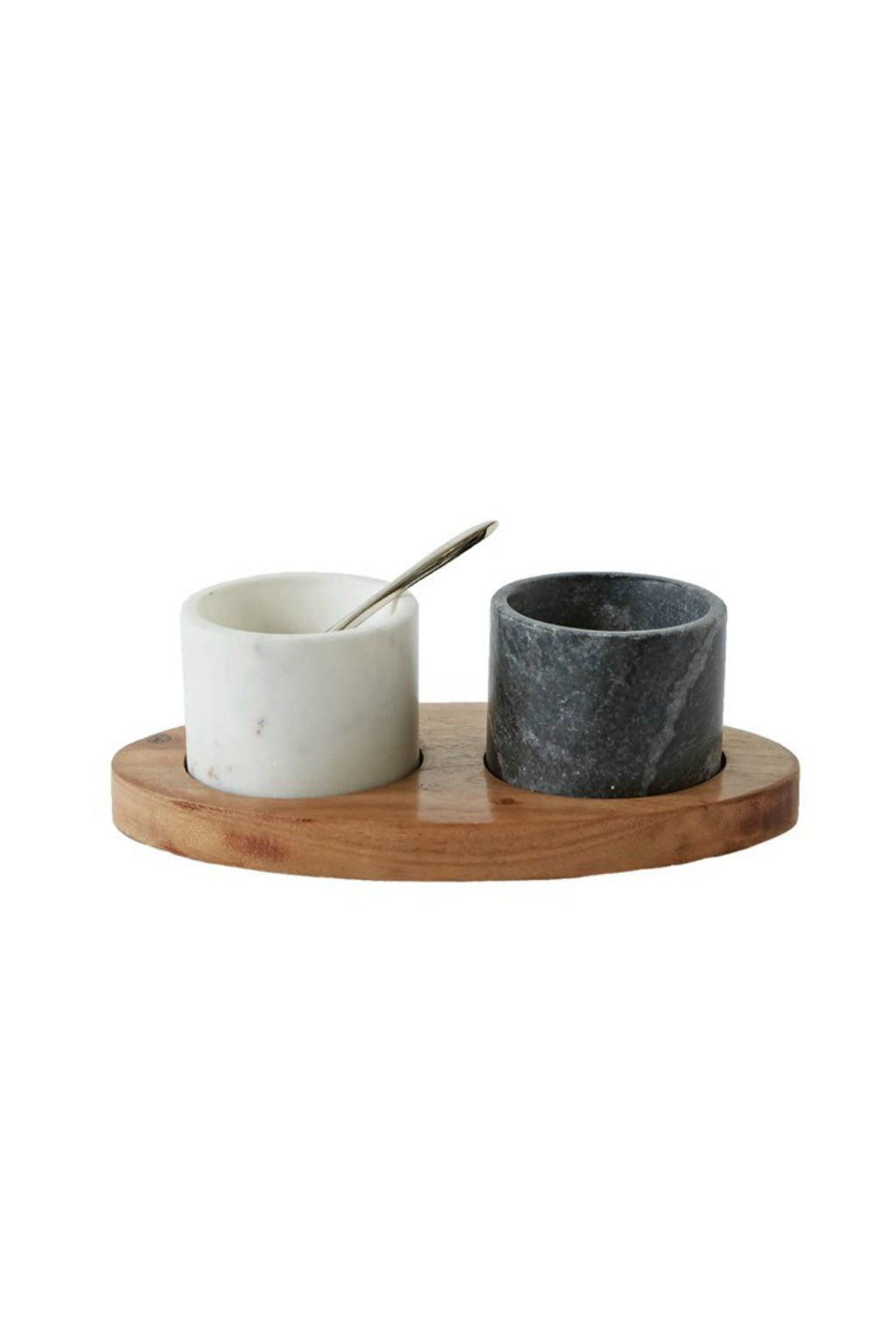 Creative Co-Op Mango Wood Tray with Marble Spice Bowls