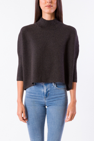 EcoVibe Aja Crop Sweater in Charcoal