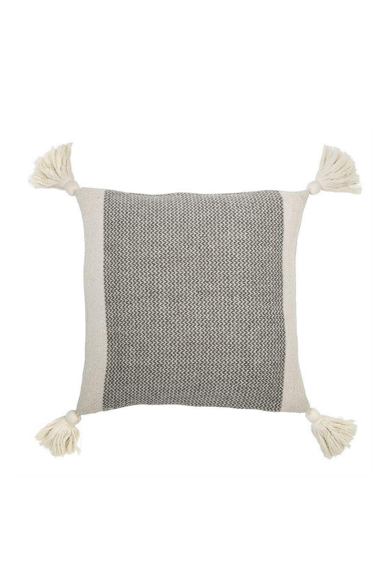 Bloomingville Recycled Cotton Blend Pillow with Tassels