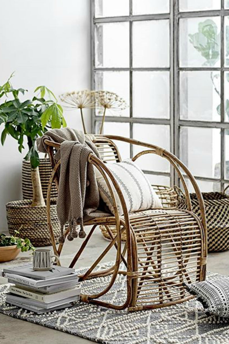 Bloomingville Rattan Bamboo Chair with Circle Sides