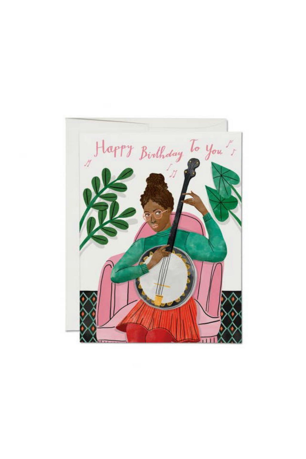 Red Cap Cards Happy Birthday Banjo Greeting Card