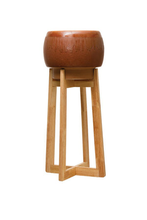 Creative Co-op Earthen Glaze Stoneware Planter with Wood Stand, Sienna