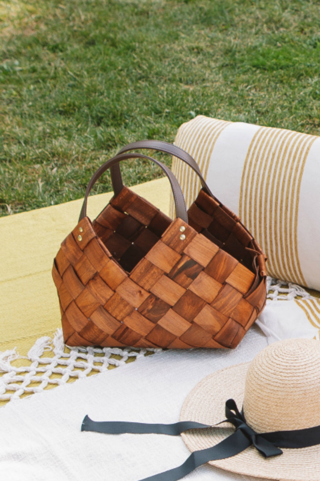 Creative Co-op Sonoma Baskets with Vegan Leather Handles