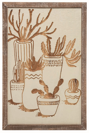 Cacti Wood Etched Wall Art