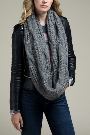 EcoVibe Soft Cable Knit Infinity Scarf in Charcoal