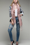 EcoVibe Plush Patterned Tassel Scarf in Blush