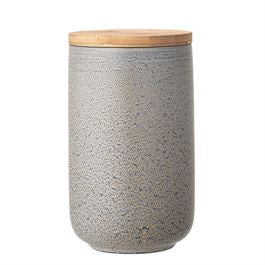 Round Stoneware Canister with Bamboo Lid