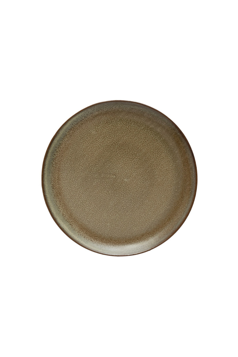 Creative Co-op Reactive Glaze Brown Stoneware Plate DF4308