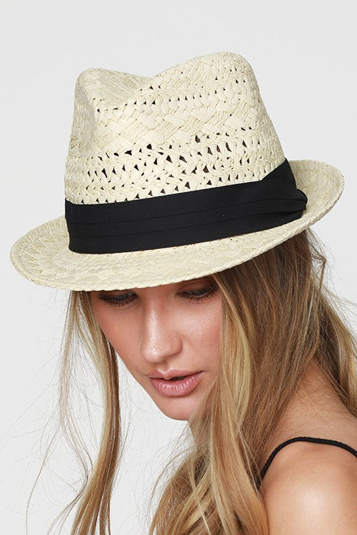 Bridget Straw Fedora in Sand