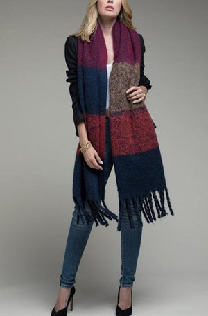 Chunky Oblong Scarf with Tassels in Navy