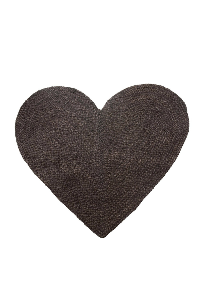 Creative Co-op Braided Jute + Cotton Heart Rug DF4495