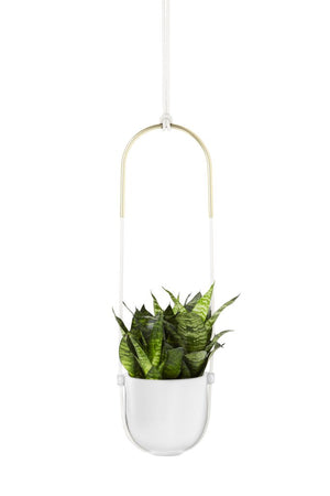 Umbra Bolo Hanging Planter, White and Brass