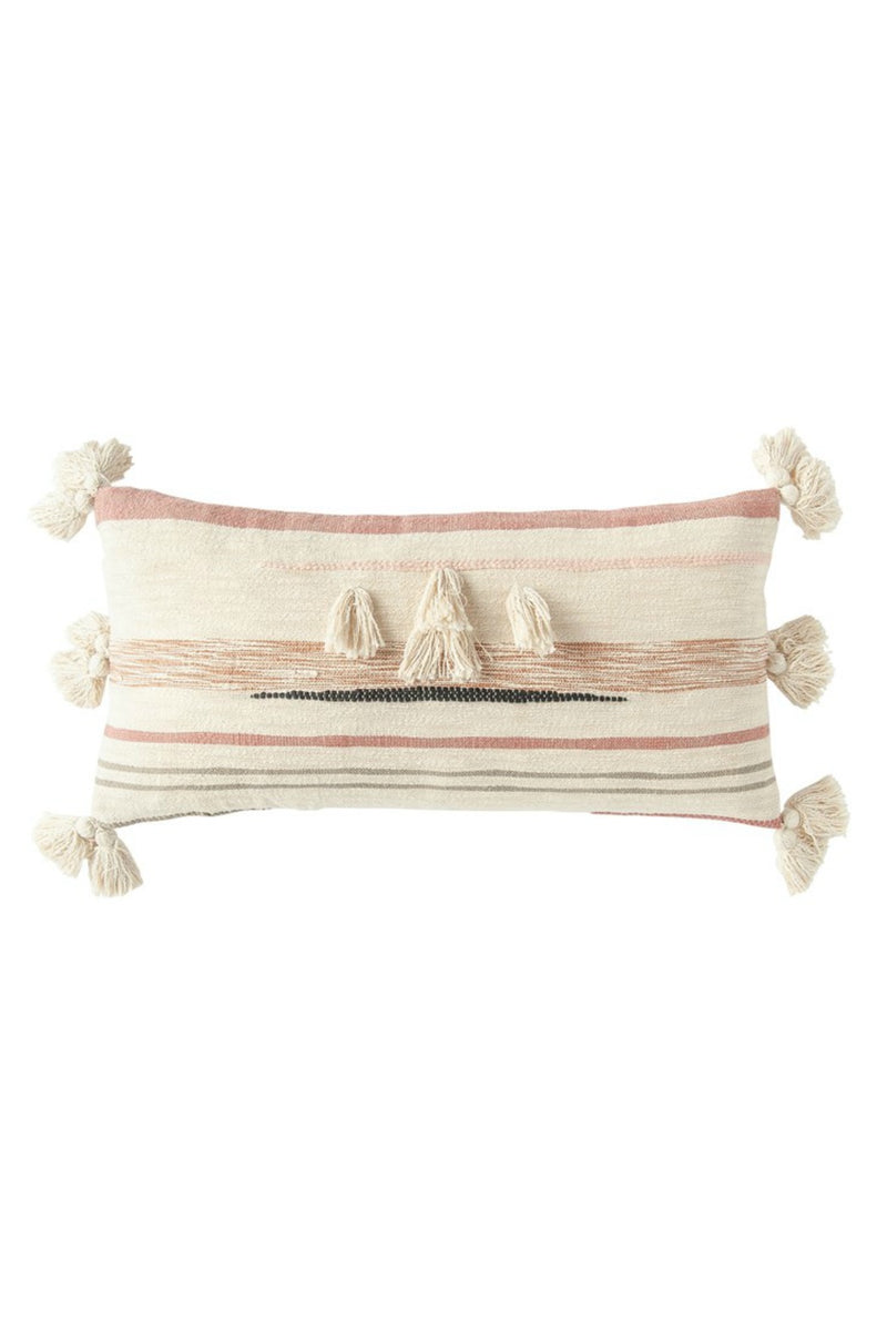 Creative Co-Op Blush Tufted Cotton Kilim Lumbar Pillow