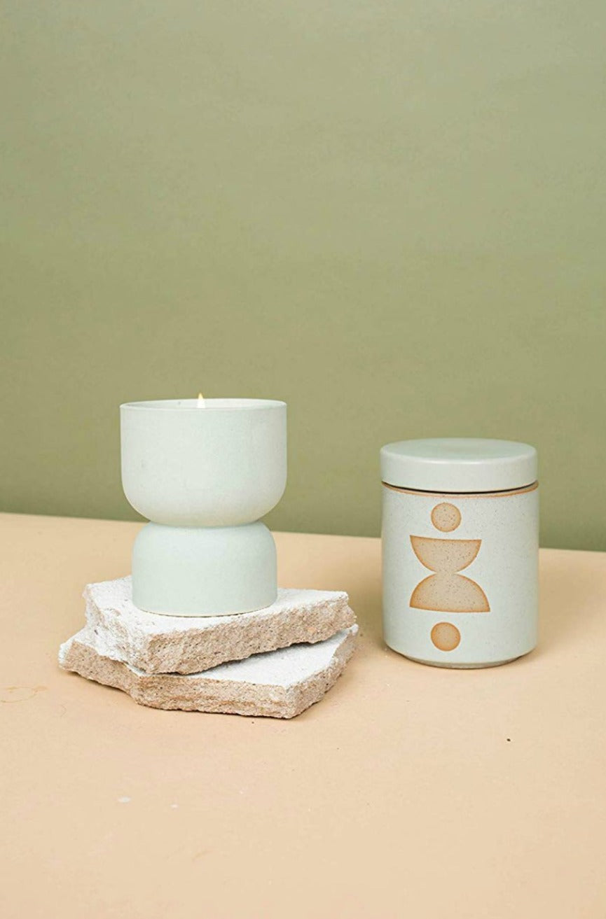 Form Ceramic Candle with Lid, Ocean Rose + Bay
