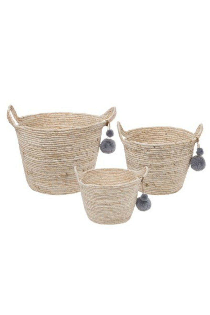 Foreside Escape Natural Baskets with Poms