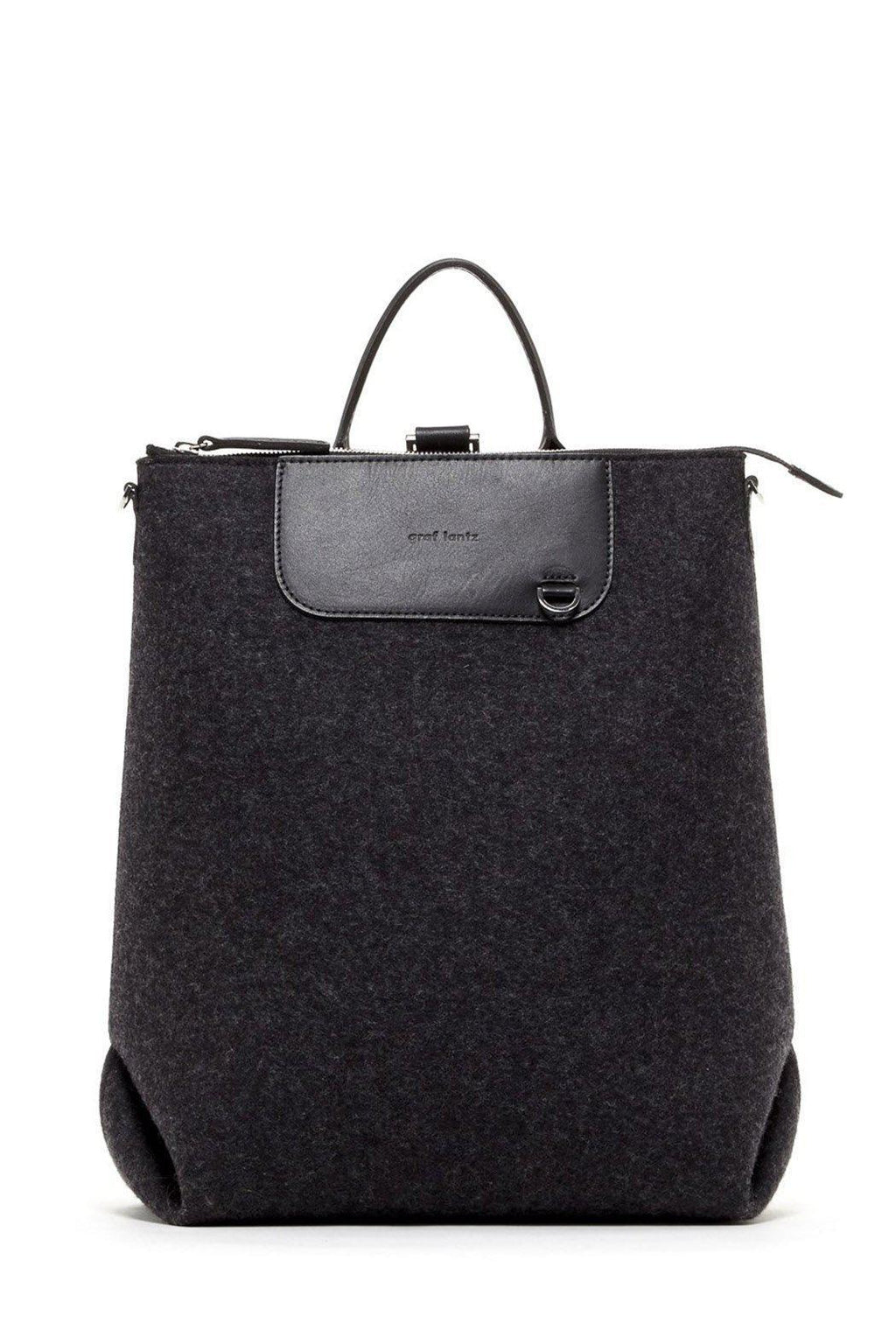 EcoVibe Style - Bedford Backpack,  | Charcoal Felt and Black Leather