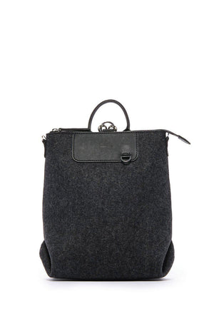 EcoVibe Style - Bedford Mini Backpack,  | Charcoal Felt and Black Leather