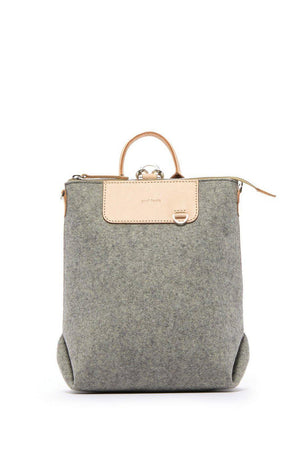 EcoVibe Style - Bedford Mini Backpack,  | Granite Felt and Natural Leather