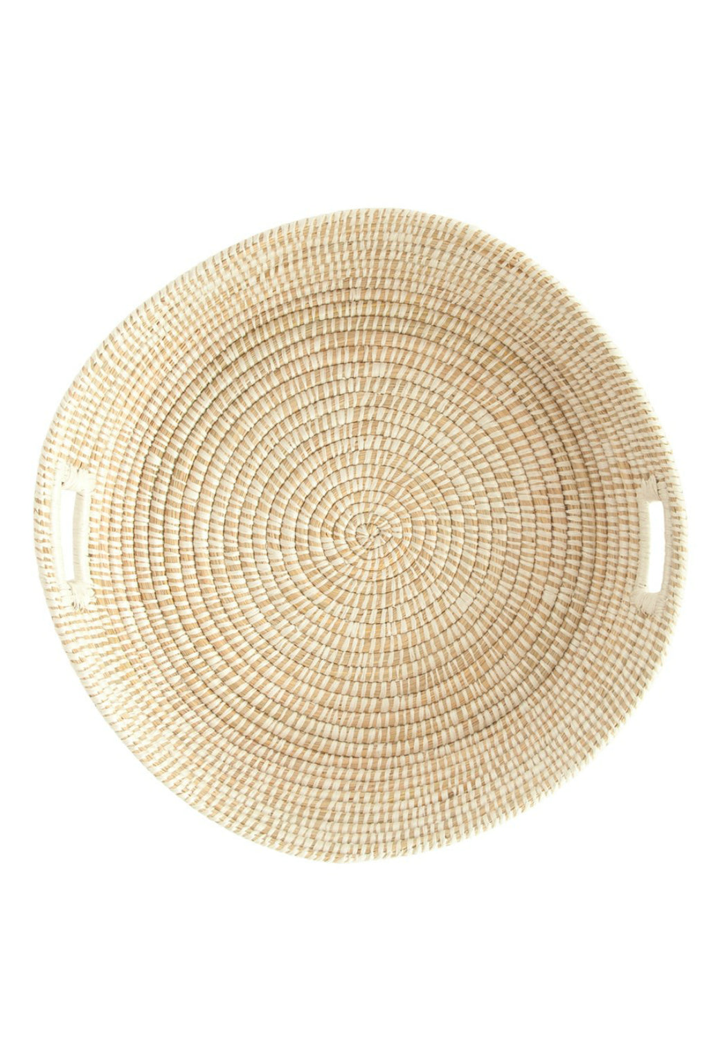 Creative Co-op Round Hand-Woven Handled Grass Basket Tray