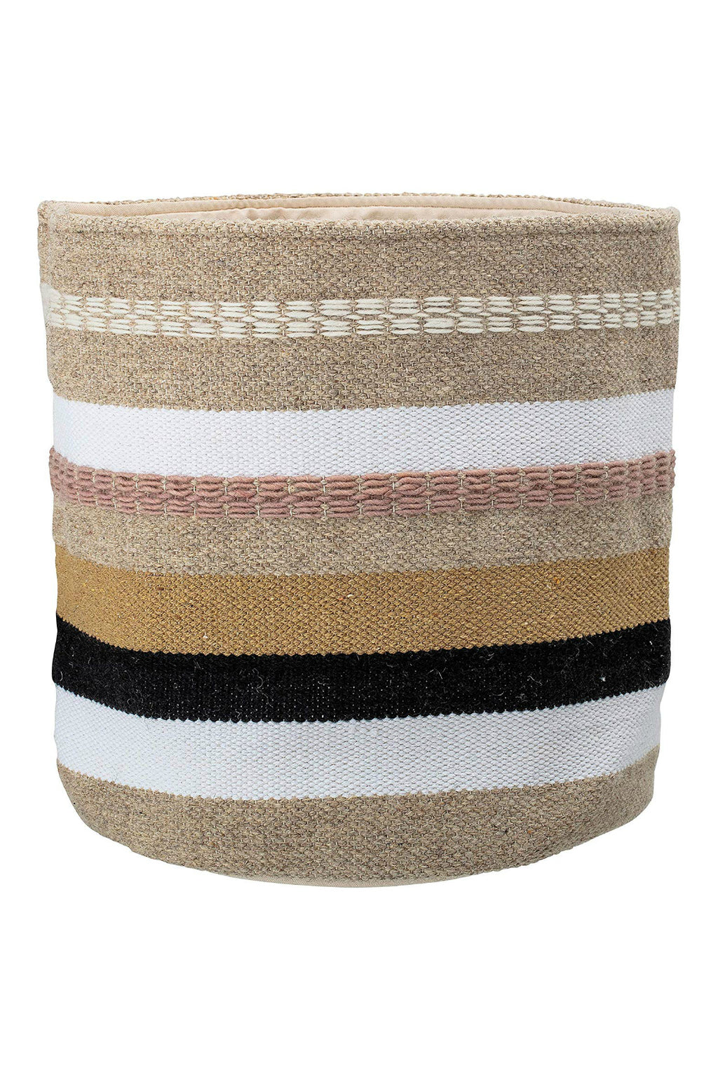 EcoVibe Style - Bloomingville Woven Wool & Cotton Basket w/ Stripes