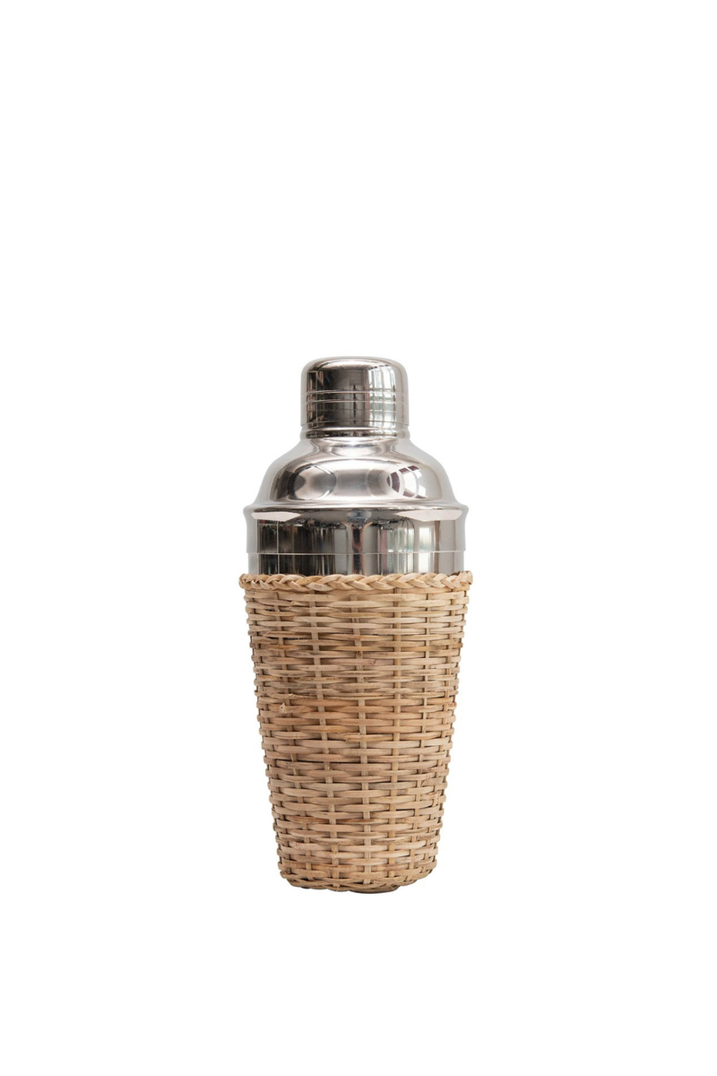 Creative Co-op Cocktail Shaker with Rattan Sleeve