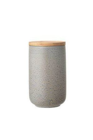 Bloomingville Round Stoneware Canister with Bamboo Lid