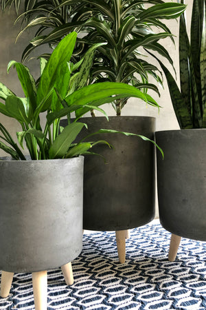 UMA Home Decor Charcoal Fiber Clay Cylinder Planter w/Wood Legs