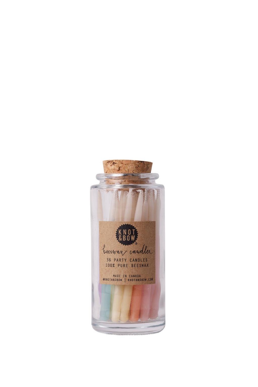 Knot & Bow Beeswax Birthday Candles in Ombre Rainbow