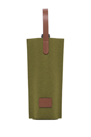 EcoVibe Style - Cozy Carrier Solo Felt Wine Bag,  | Moss Felt and Sienna Leather