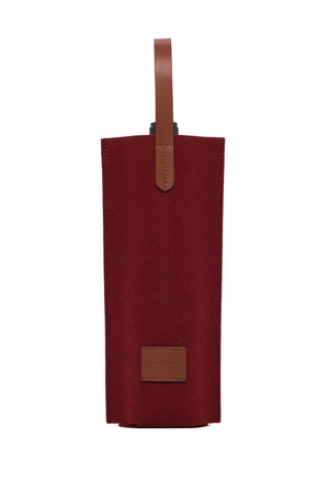 EcoVibe Style - Cozy Carrier Solo Felt Wine Bag,  | Rosewood Felt and Sienna Leather