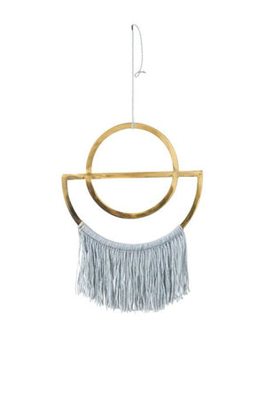 Bloomingville Brass Wall Decor with Grey Cotton Fringe