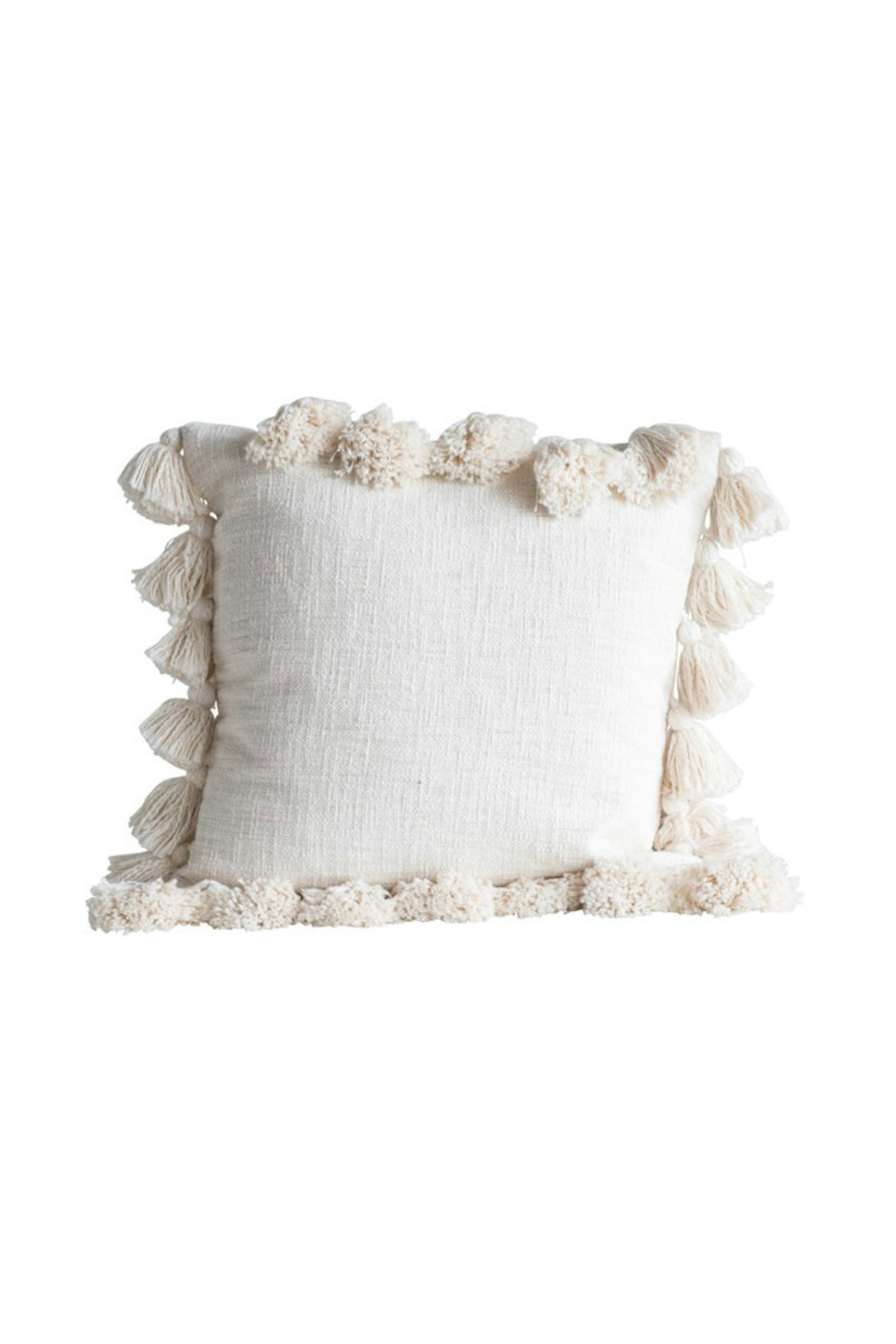Creative Co-op Natural Cotton Slub Tassel Pillow