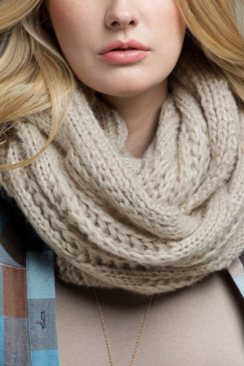 EcoVibe Soft Cable Knit Infinity Scarf in Oatmeal