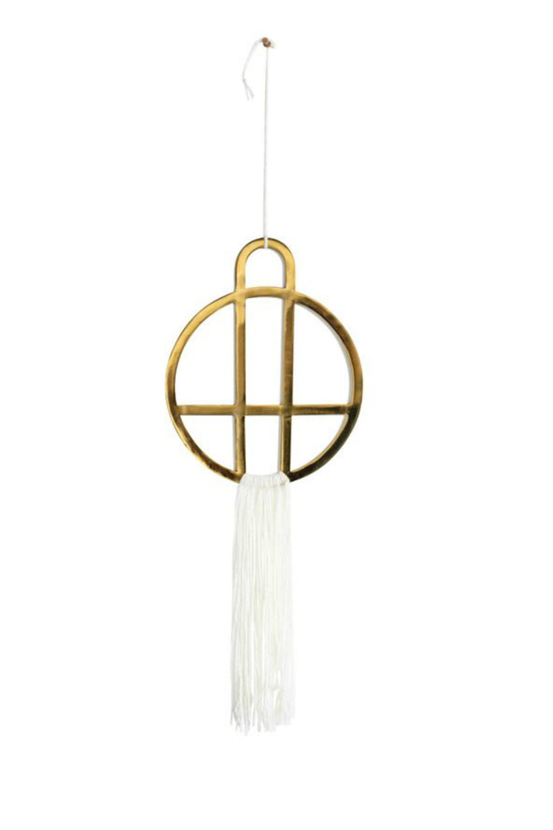 Bloomingville Brass Wall Decor with White Cotton Fringe